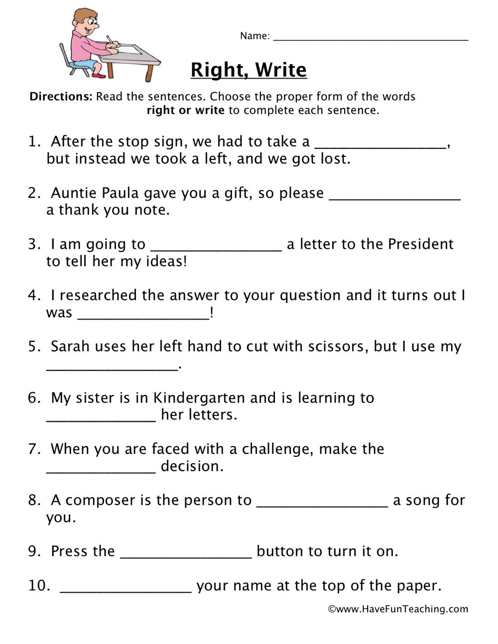 Homophones Worksheet 6th Grade Right Write Homophones Worksheet