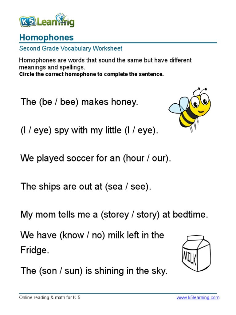 Homophones Worksheets for Grade 2 2nd Grade Homophones 3
