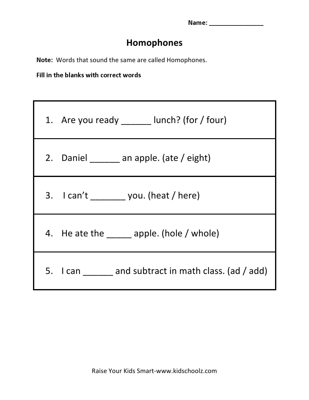 Homophones Worksheets for Grade 5 Grade 3 Homophones Worksheet 3 Kidschoolz