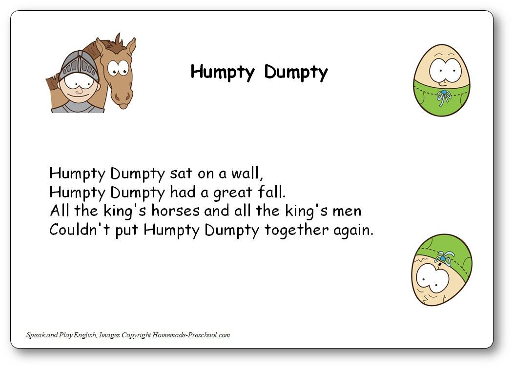 Humpty Dumpty Printable Book Humpty Dumpty song with Lyrics and Music Humpty Dumpty In