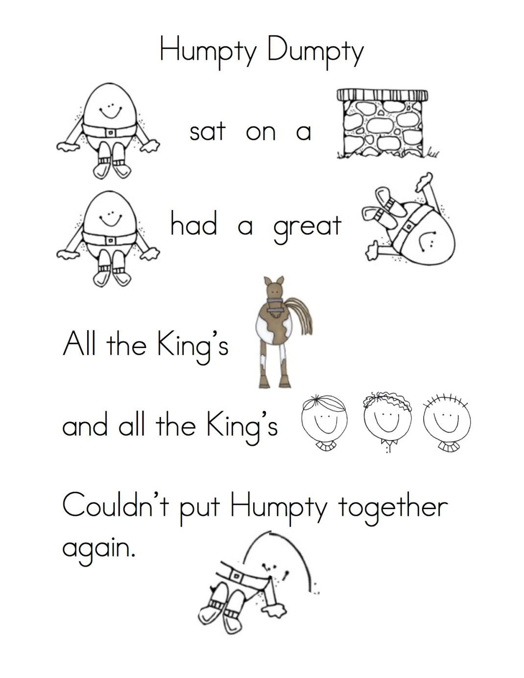 Humpty Dumpty Printable Book More Fun with Nursery Rhymes