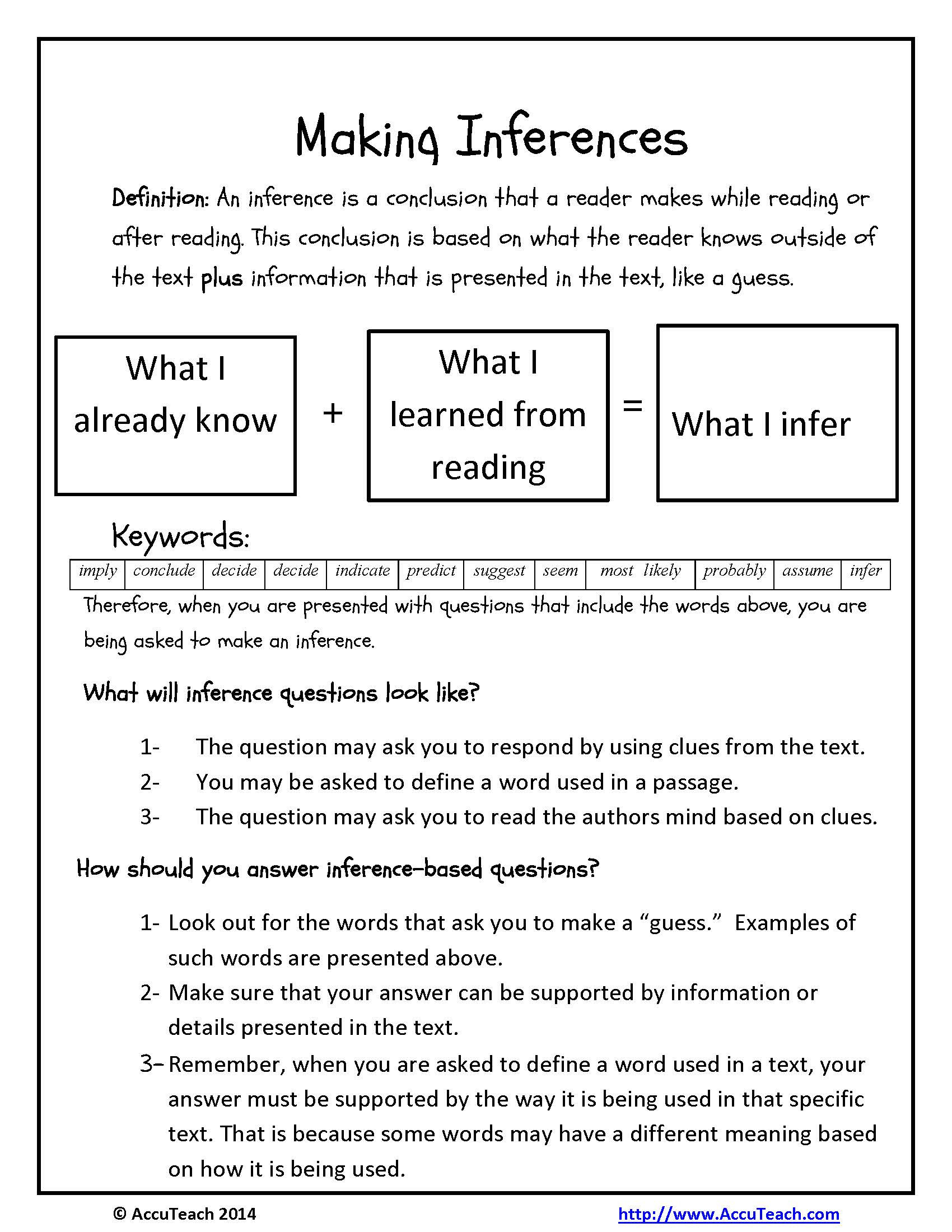 Inference Worksheets for 4th Grade Inference Questions Reading Prehension