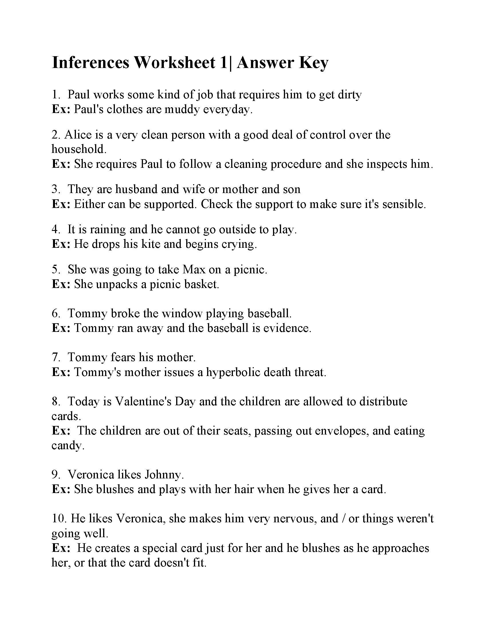 Inference Worksheets for 4th Grade Inferences Worksheet Answers Making Worksheets Grade Math