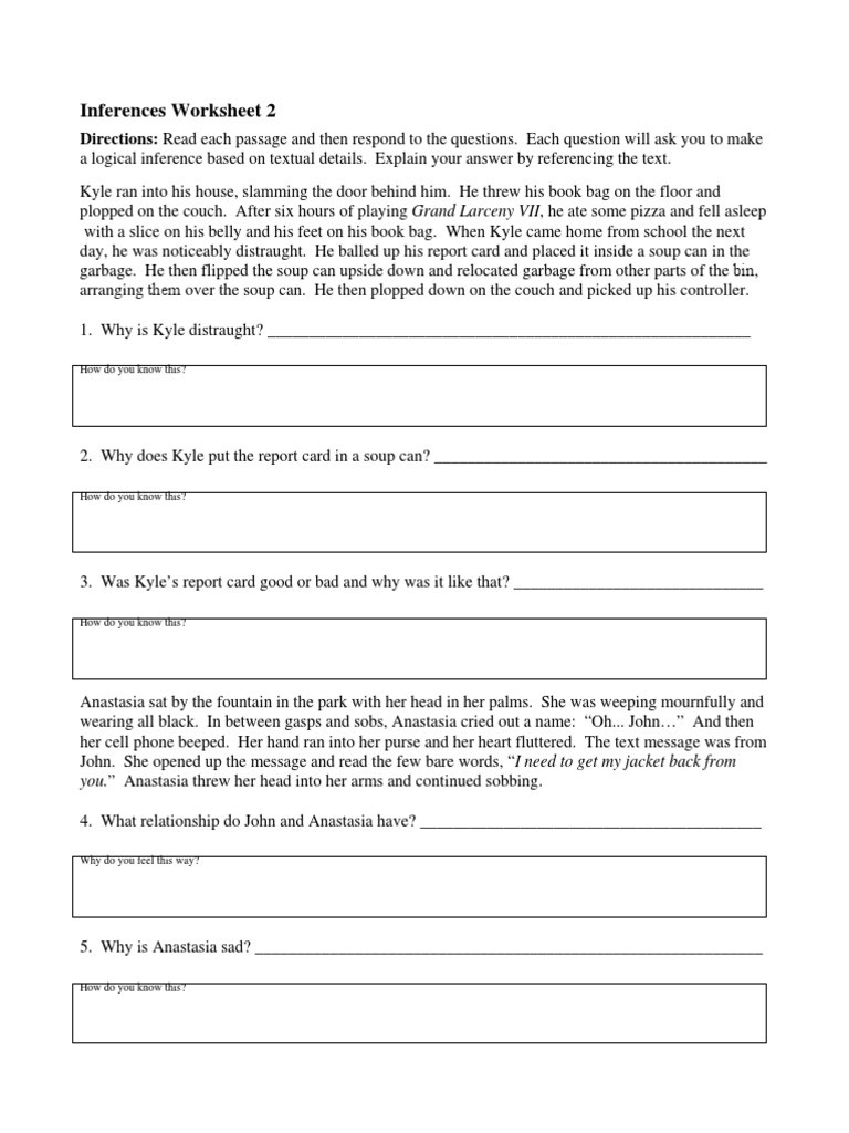 Inferencing Worksheets Grade 4 Inference Worksheet 2