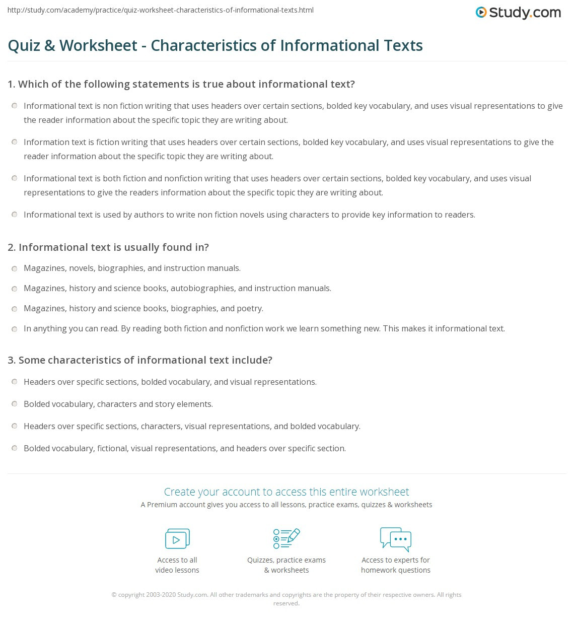 Informational Text Worksheets Middle School Quiz & Worksheet Characteristics Of Informational Texts
