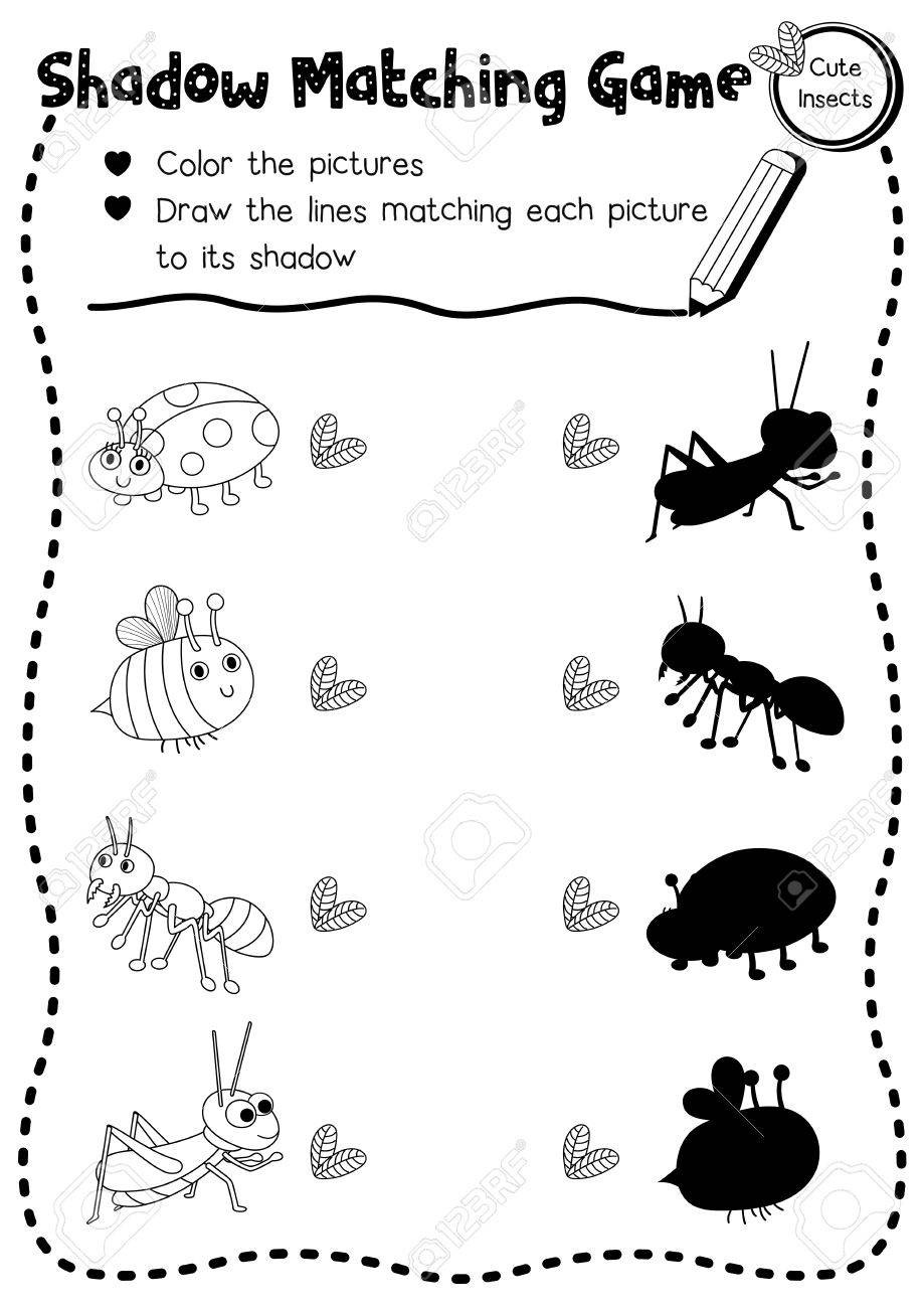 Insect Worksheets for Preschoolers Shadow Matching Game Of Insect Bug Animals for Preschool Kids