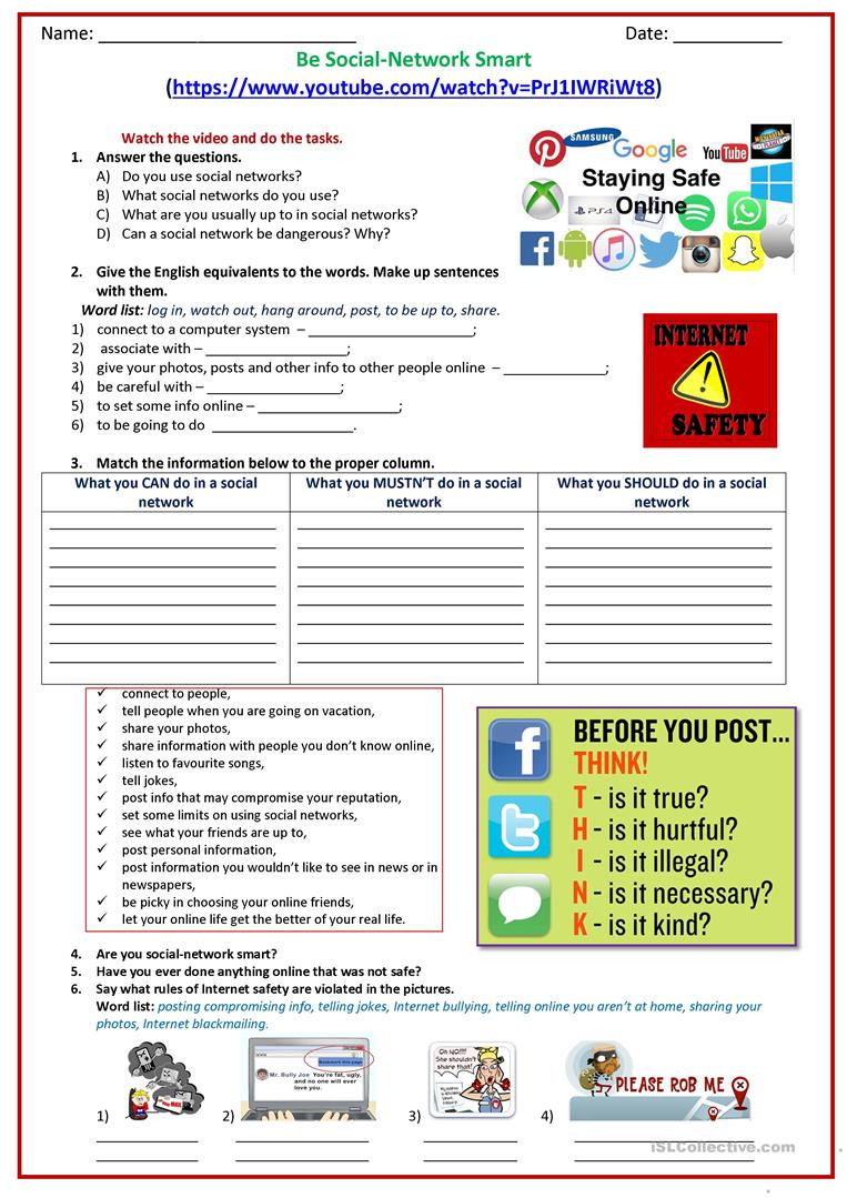Internet Safety Worksheets Printable Be social Network Smart English Esl Worksheets for