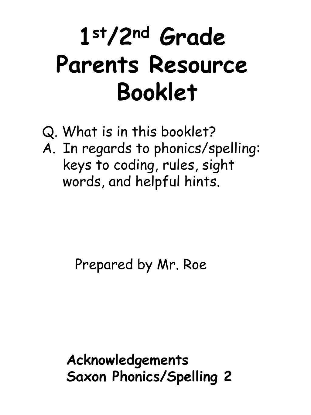 Irregularly Spelled Words 2nd Grade Ppt 1 St 2 Nd Grade Parents Resource Booklet Powerpoint