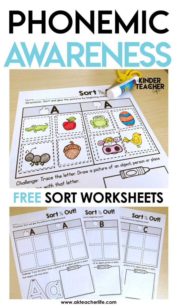 Kindergarten Math sorting Worksheets Free Phonemic Awareness sorting Worksheets Phonics