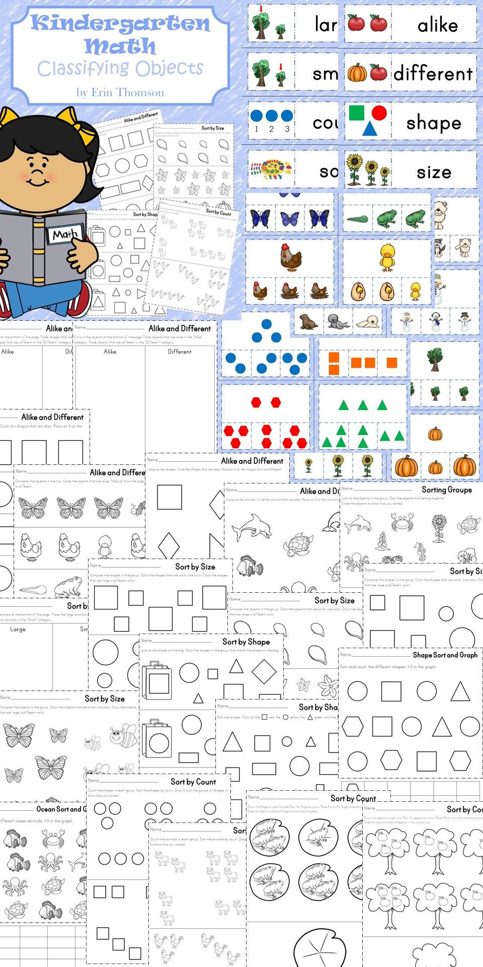 Kindergarten Math sorting Worksheets Kindergarten Math Classifying Objects