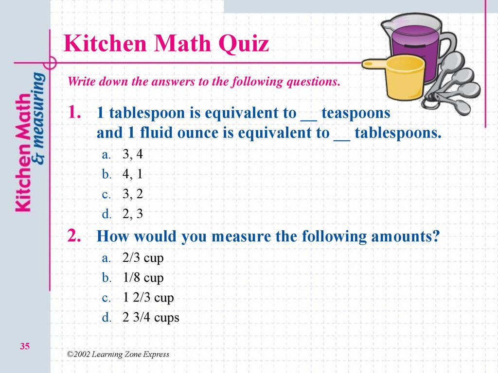 Kitchen Math Measuring Answers 2 03 O Kitchen Math and Measuring Ppt