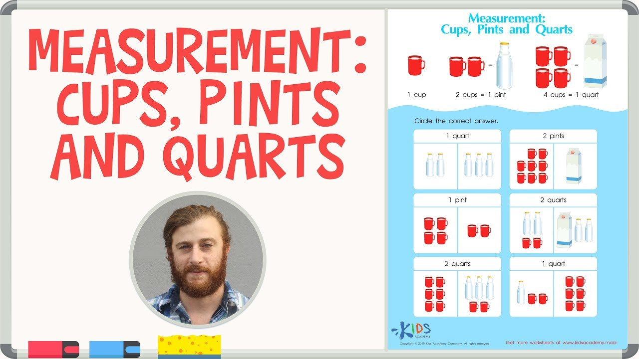 Kitchen Math Measuring Answers Capacity Measurement Cups Pints and Quarts Math for 1st Grade