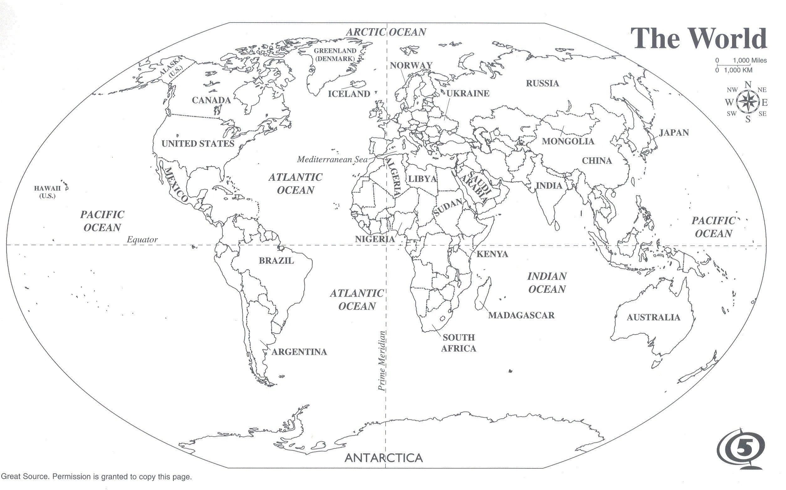 Label Continents and Oceans Printable Black and White World Map with Continents Labeled Best