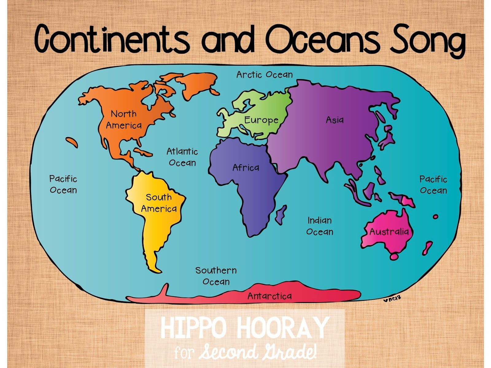 Label Continents and Oceans Printable Continents Ocean song and Video