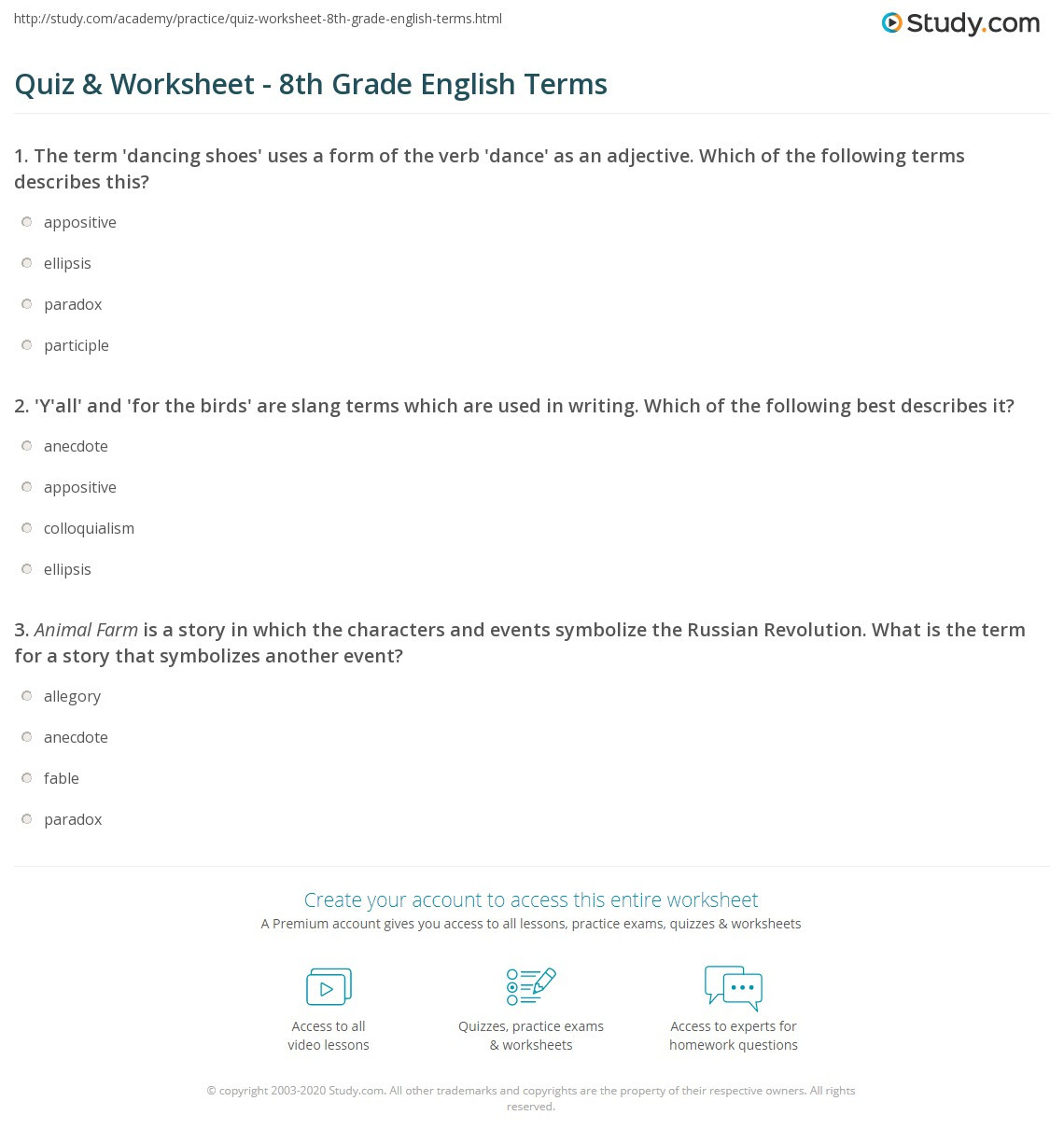 Language Arts Worksheets 8th Grade Quiz & Worksheet 8th Grade English Terms