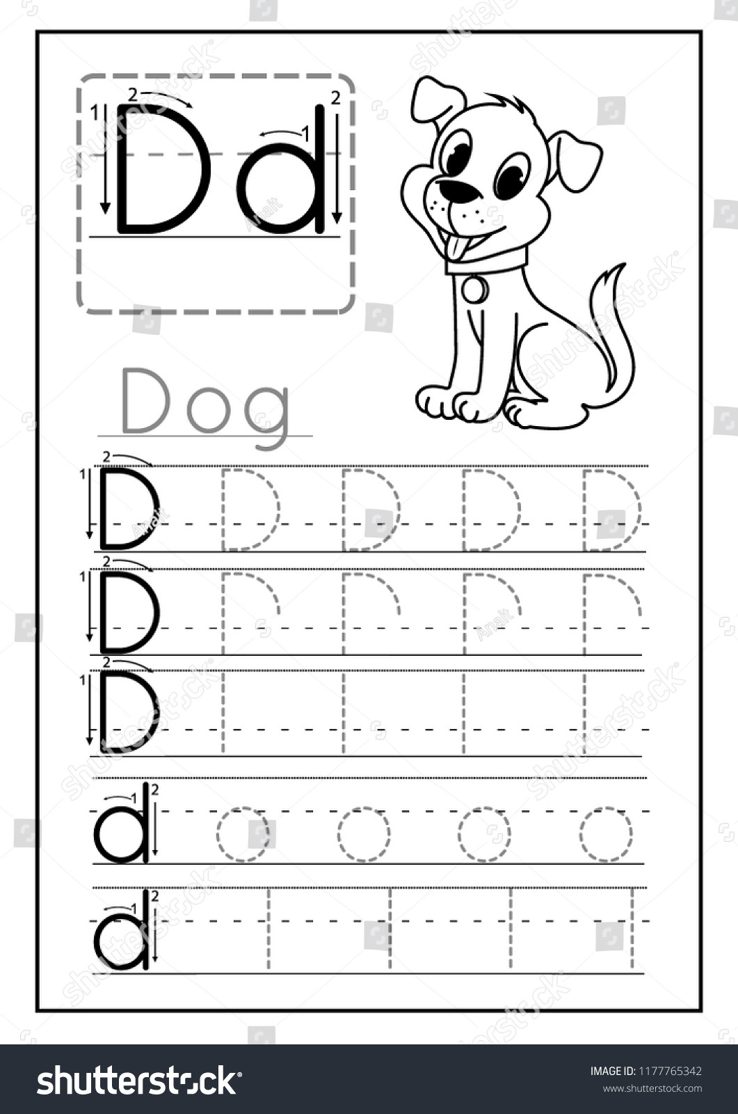 Letter D Worksheet Preschool Writing Practice Letter D Printable Worksheet Stock Vector