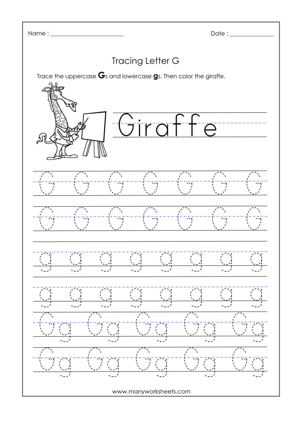 Letter G Worksheet Preschool Worksheet Kindergarten Tracing Worksheets Letter G