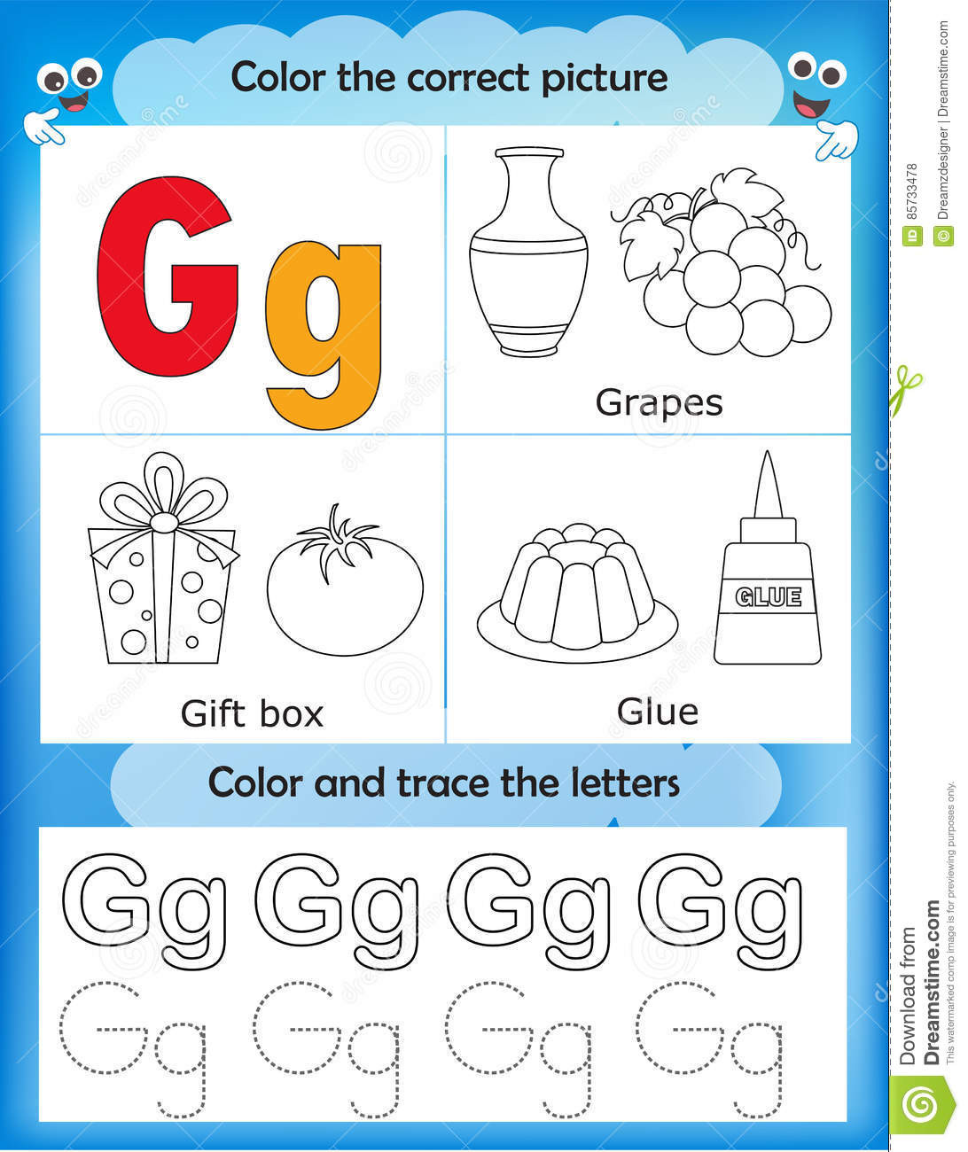 Letter G Worksheets Preschool Alphabet Learning and Color Letter G Stock Illustration