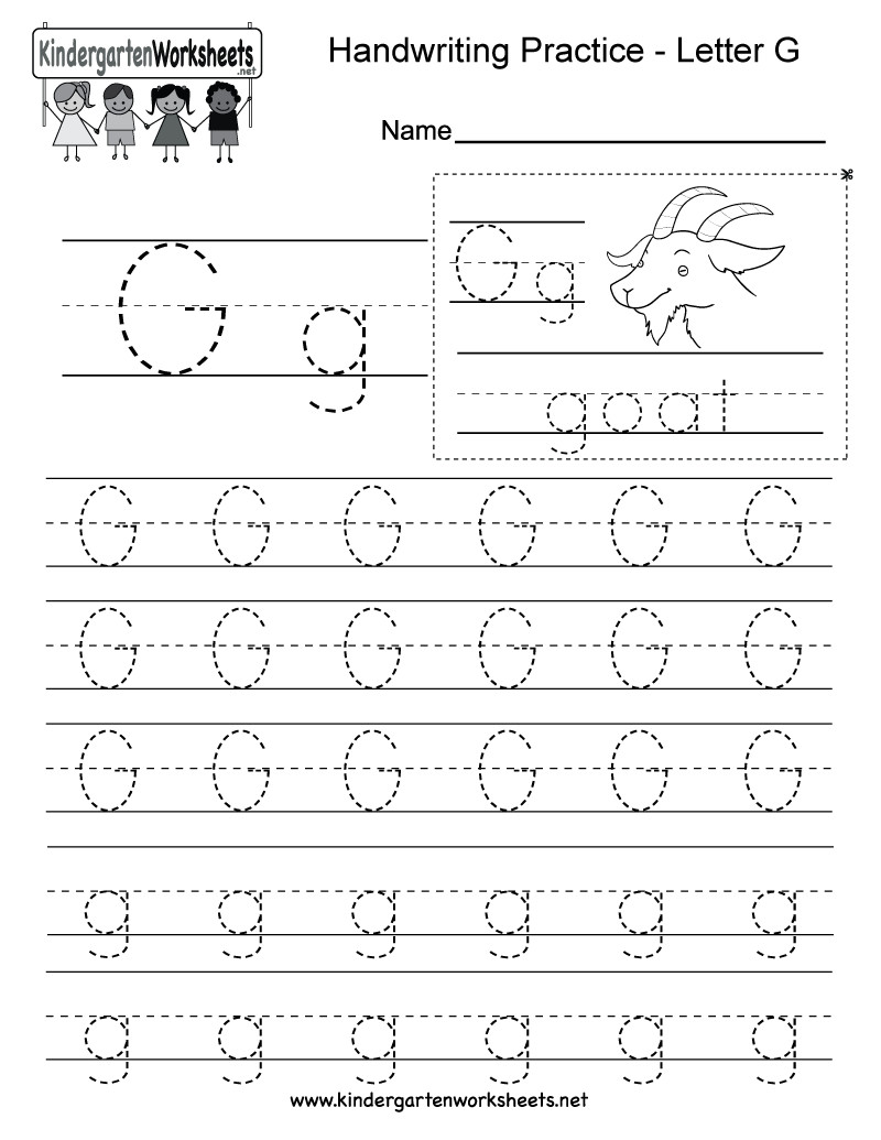 Letter G Worksheets Preschool Letter G Writing Practice Worksheet Free Kindergarten