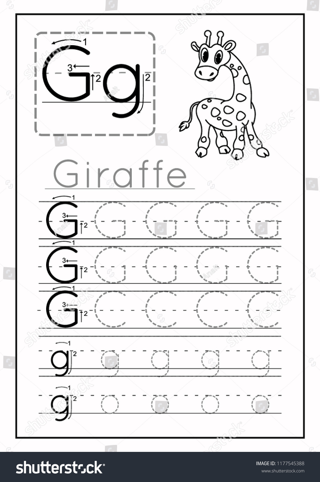 Letter G Worksheets Preschool Writing Practice Letter G Printable Worksheet Stock Vector