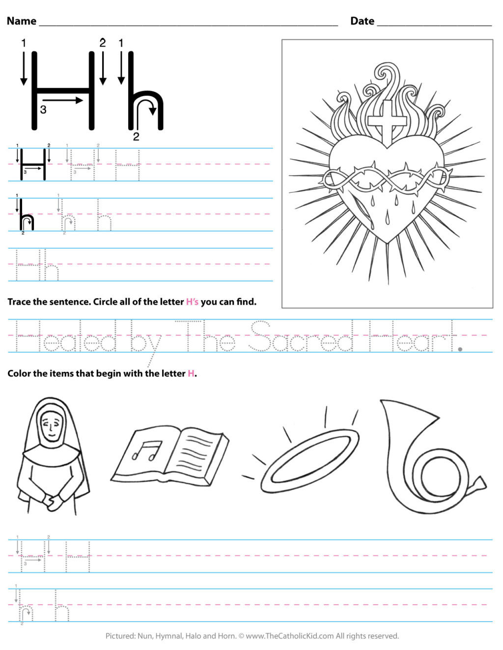 Letter H Tracing Worksheets Preschool Worksheet Catholic Alphabet Letter H Worksheet Preschool