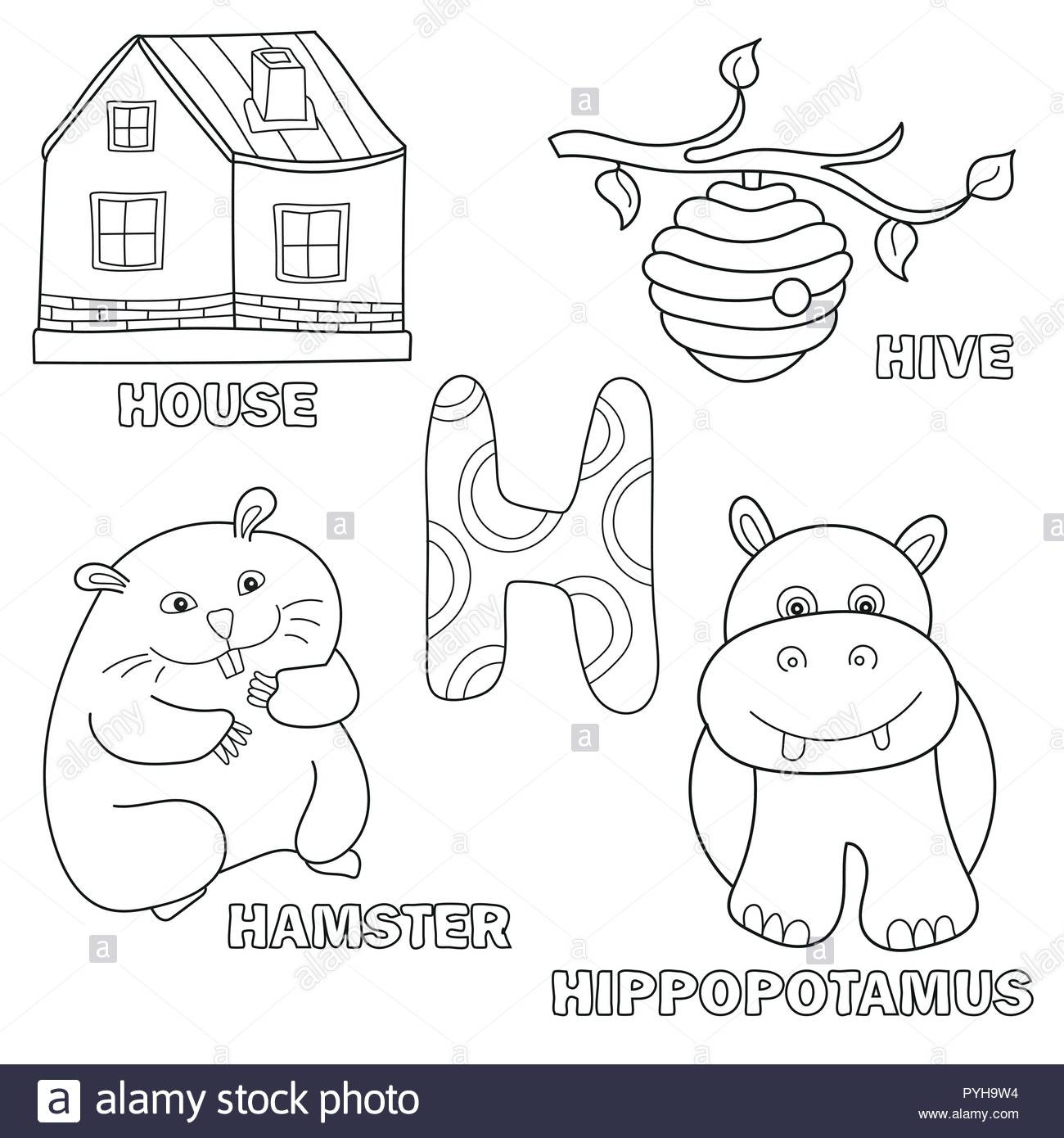 Letter H Worksheets for Preschoolers Kids Alphabet Coloring Book Page with Outlined Clip Arts