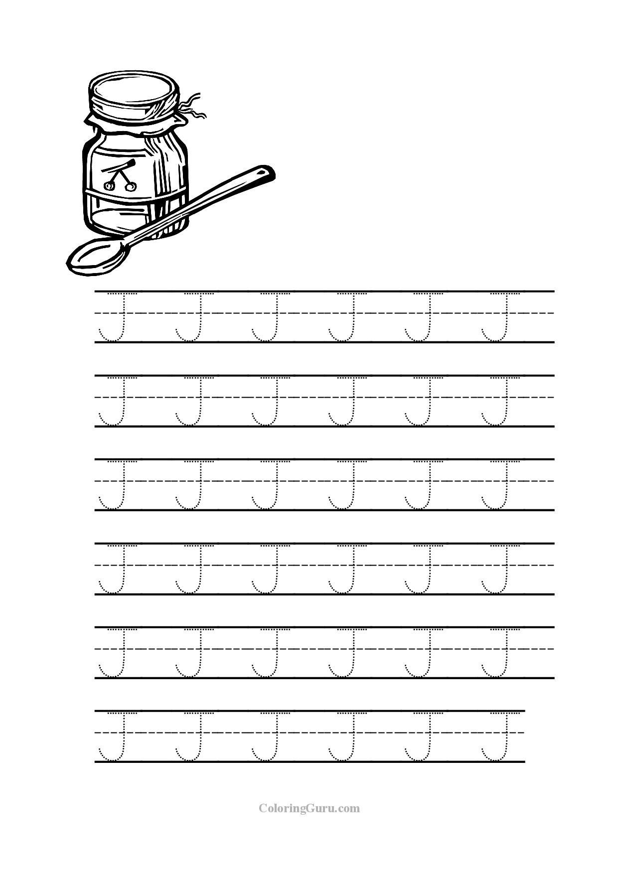 Letter J Tracing Worksheets Preschool Free Printable Tracing Letter J Worksheets for Preschool