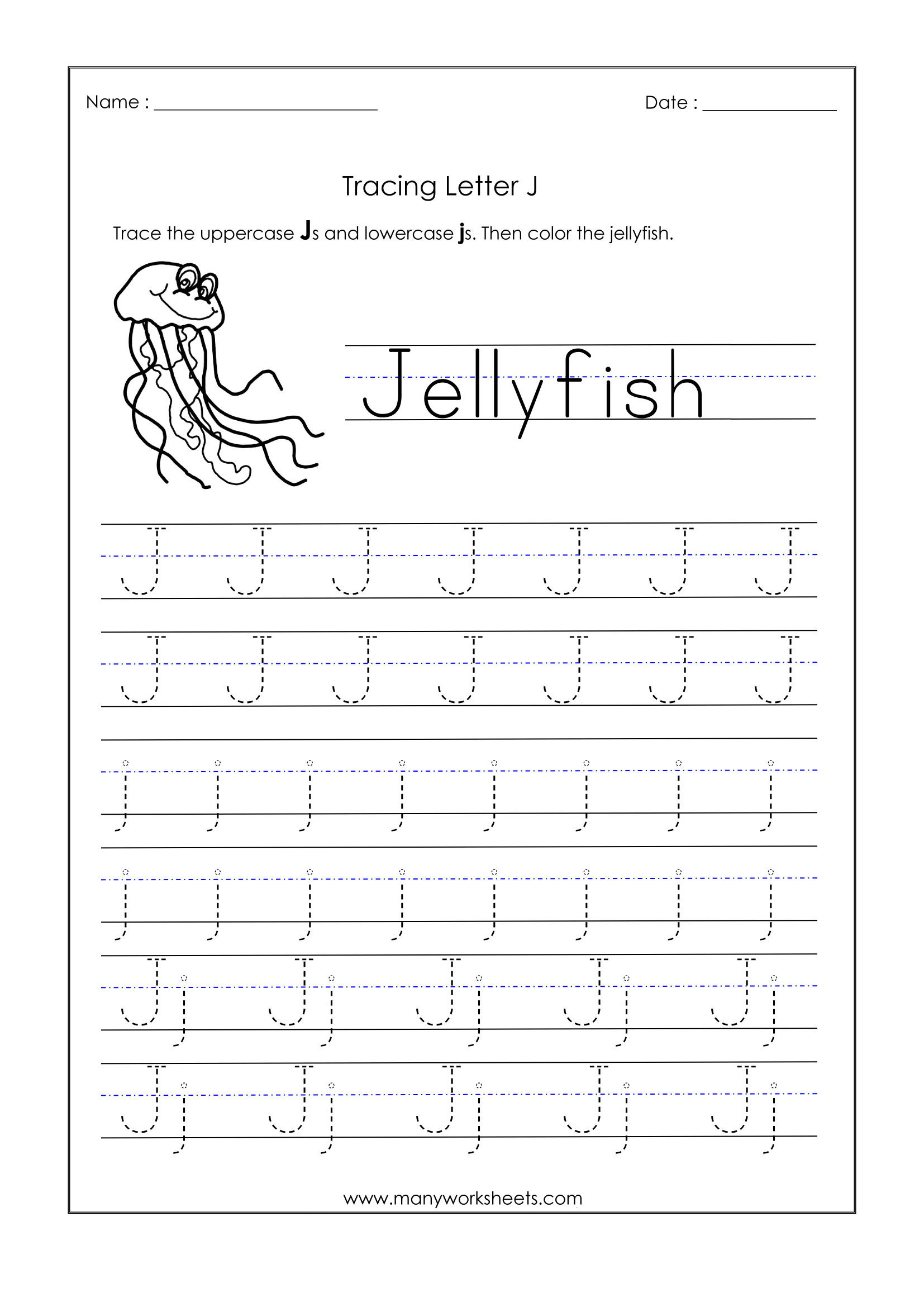 Letter J Tracing Worksheets Preschool Letter J Worksheets for Kindergarten – Trace Dotted Letters