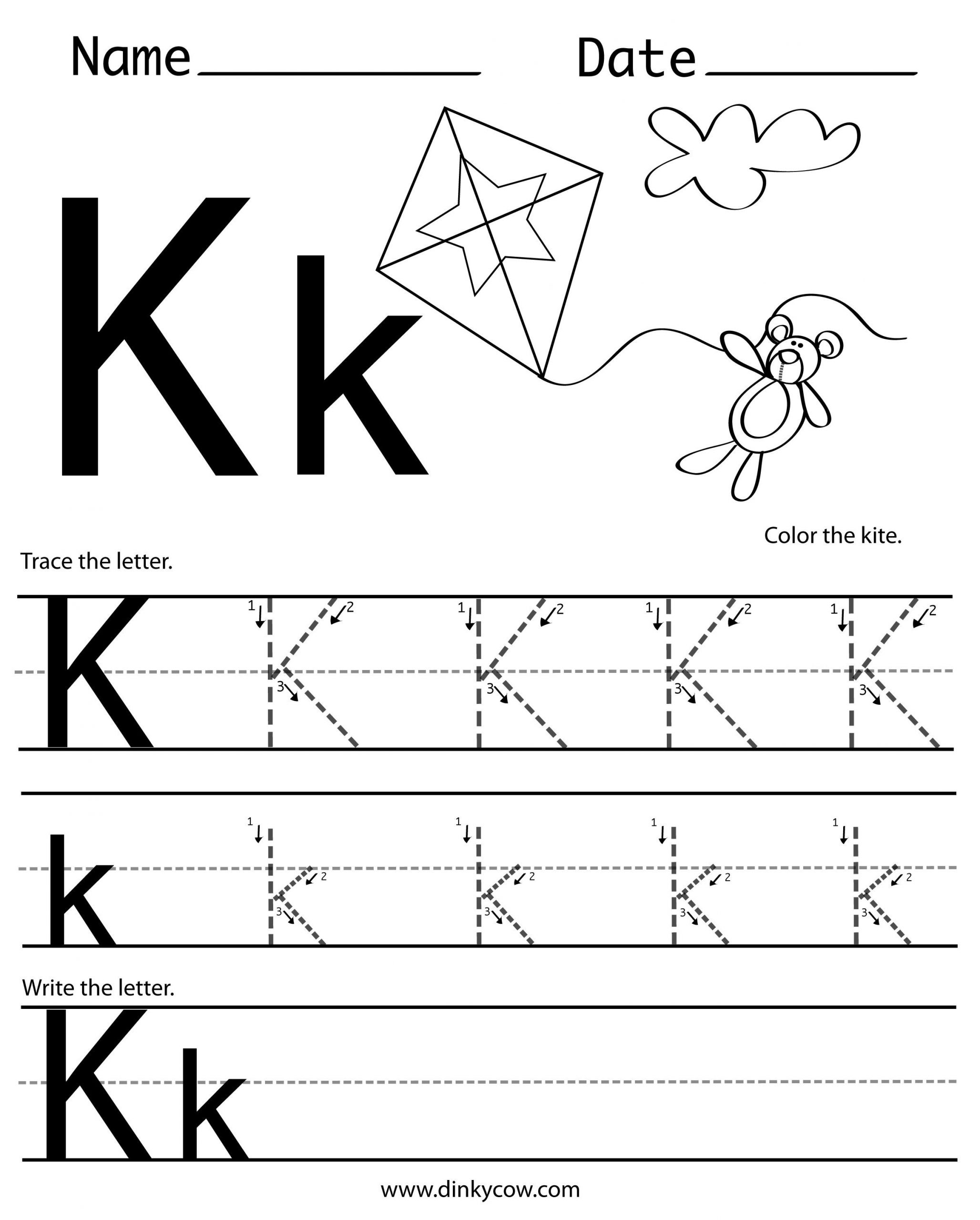 Letter K Tracing Worksheets Preschool K Free Handwriting Worksheet Print 2 400—2 988 Pixels