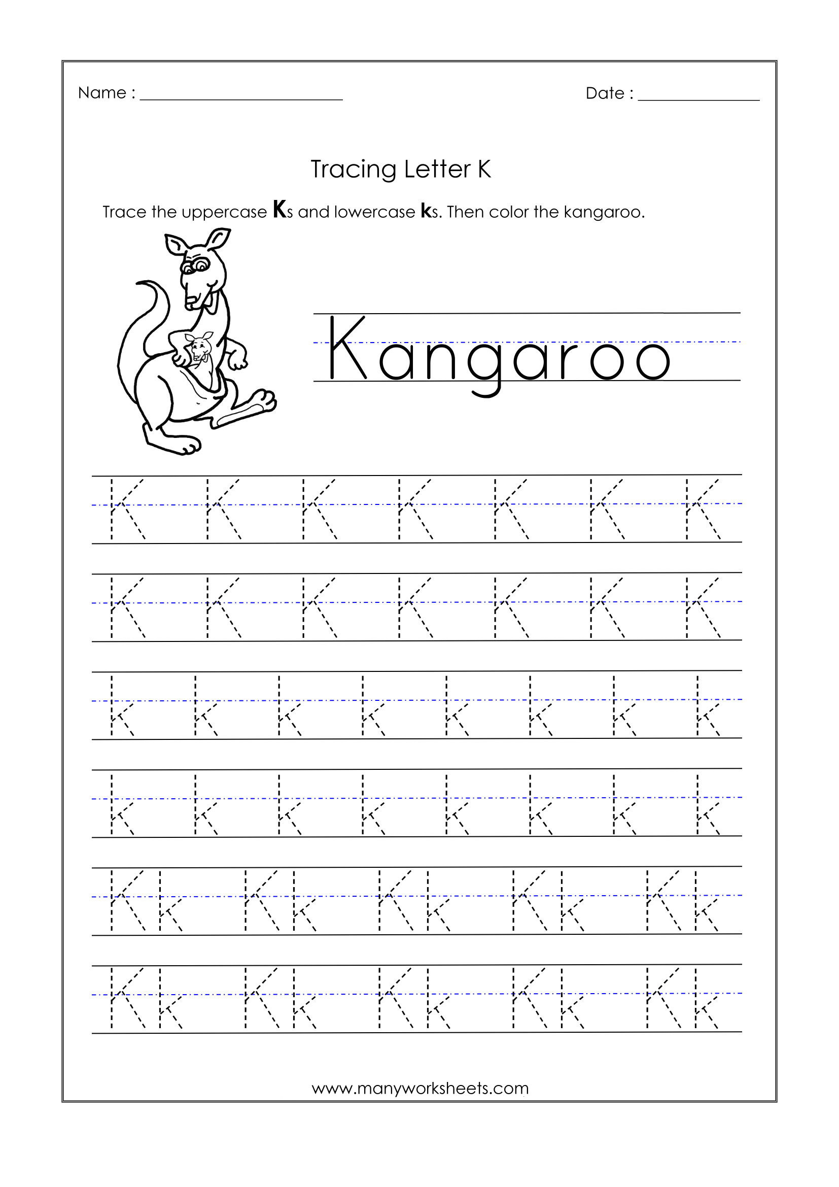 Letter K Tracing Worksheets Preschool Math Worksheet Marvelous Letter Tracing Worksheets Number