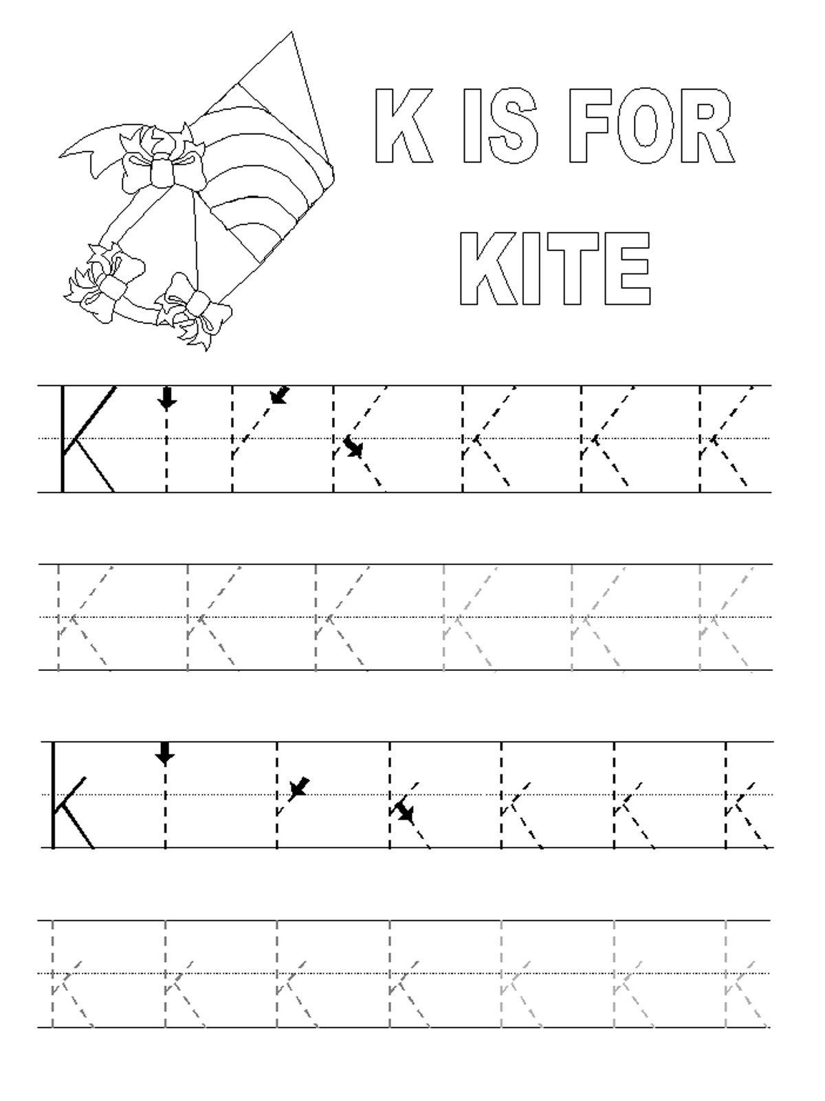 Letter K Tracing Worksheets Preschool Printable Alphabet Tracing Pages