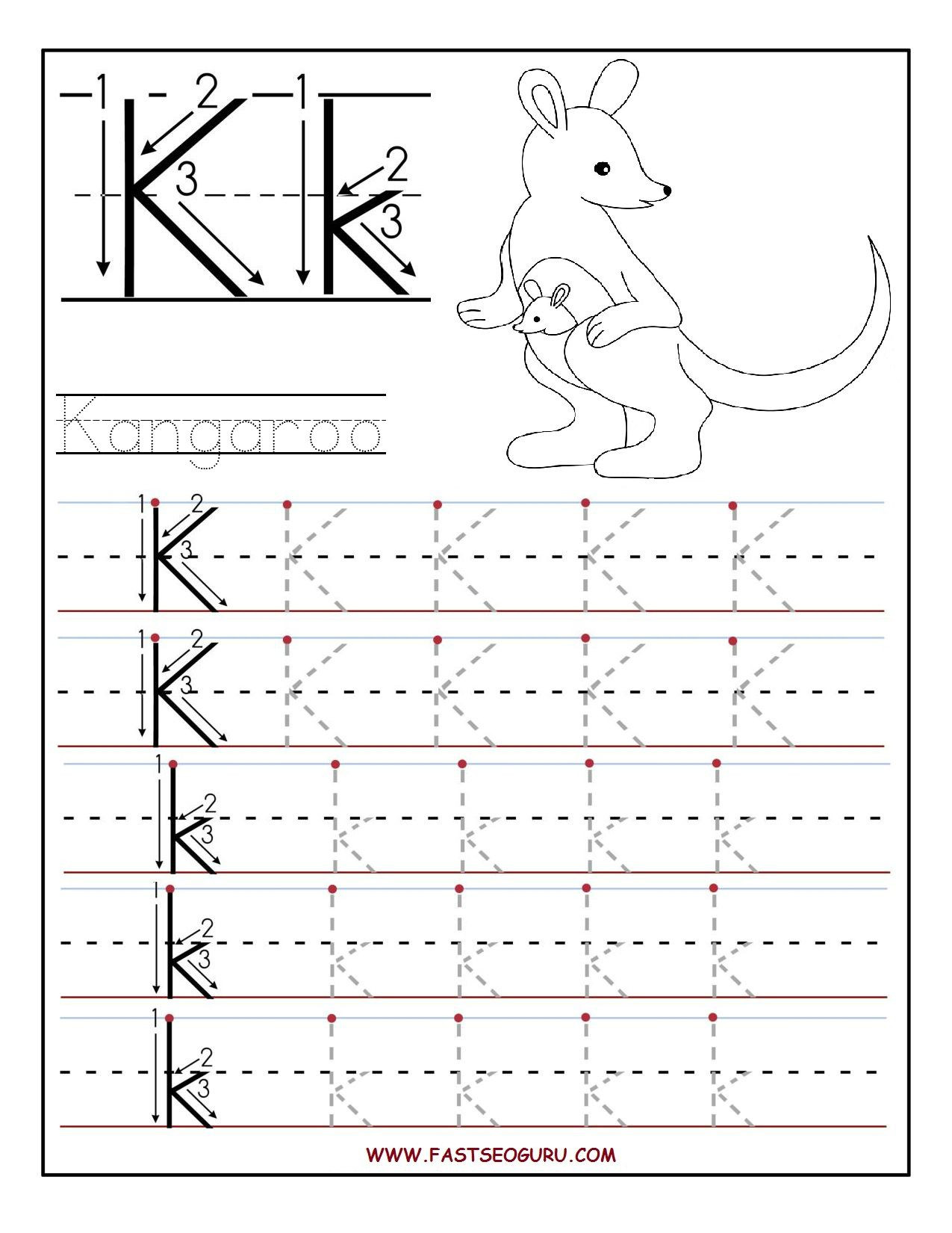 Letter K Tracing Worksheets Preschool Printable Letter K Tracing Worksheets for Preschool
