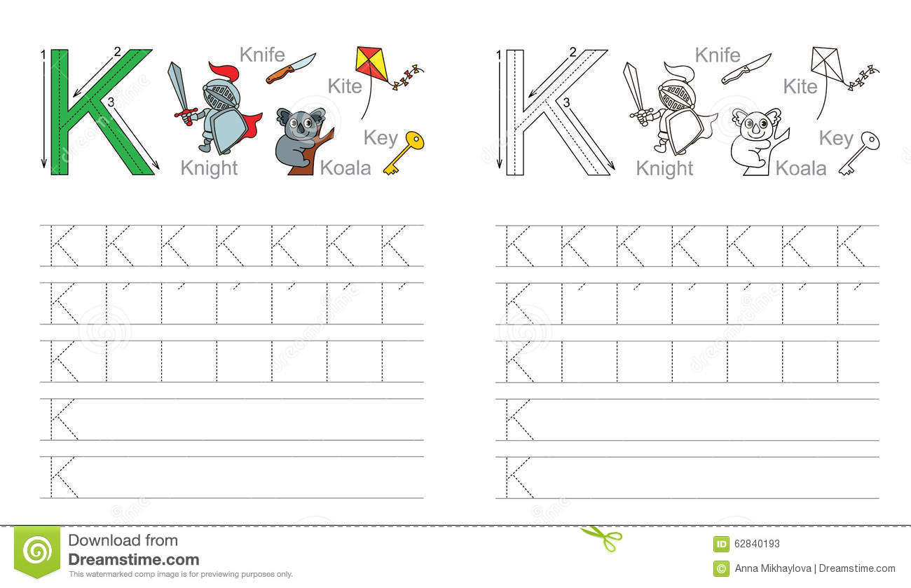 Letter K Tracing Worksheets Preschool Tracing Worksheet for Letter K Stock Vector Illustration