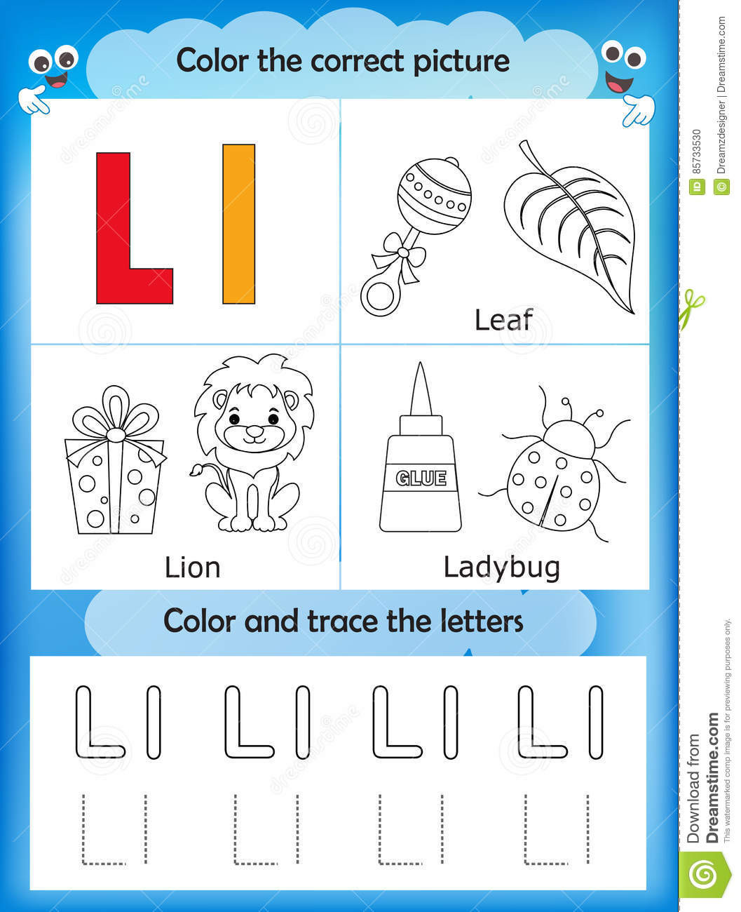 Letter L Worksheet for Preschool Alphabet Learning and Color Letter L Stock Illustration