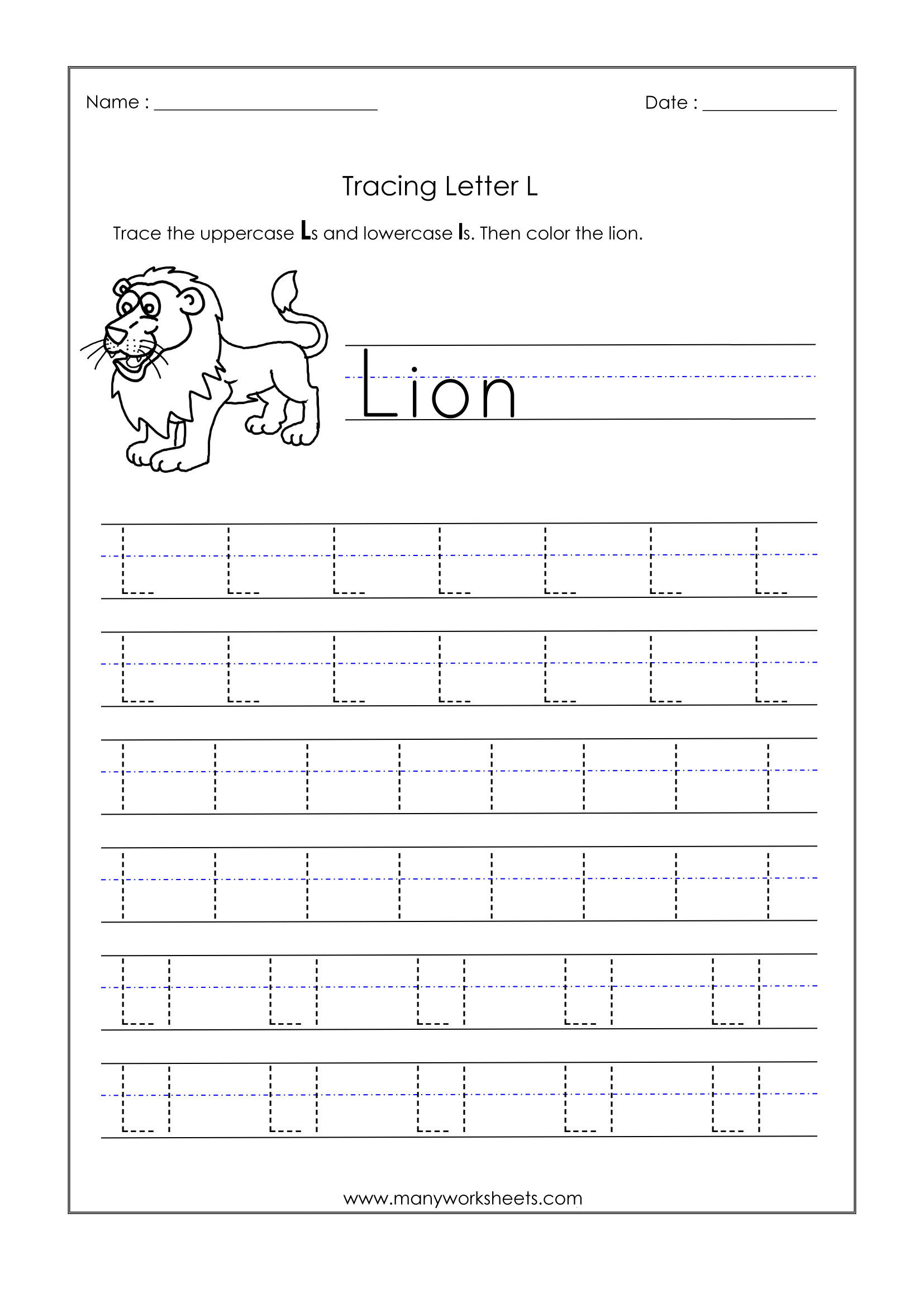 Letter L Worksheet for Preschool Letter L Worksheets for Kindergarten – Trace Dotted Letters