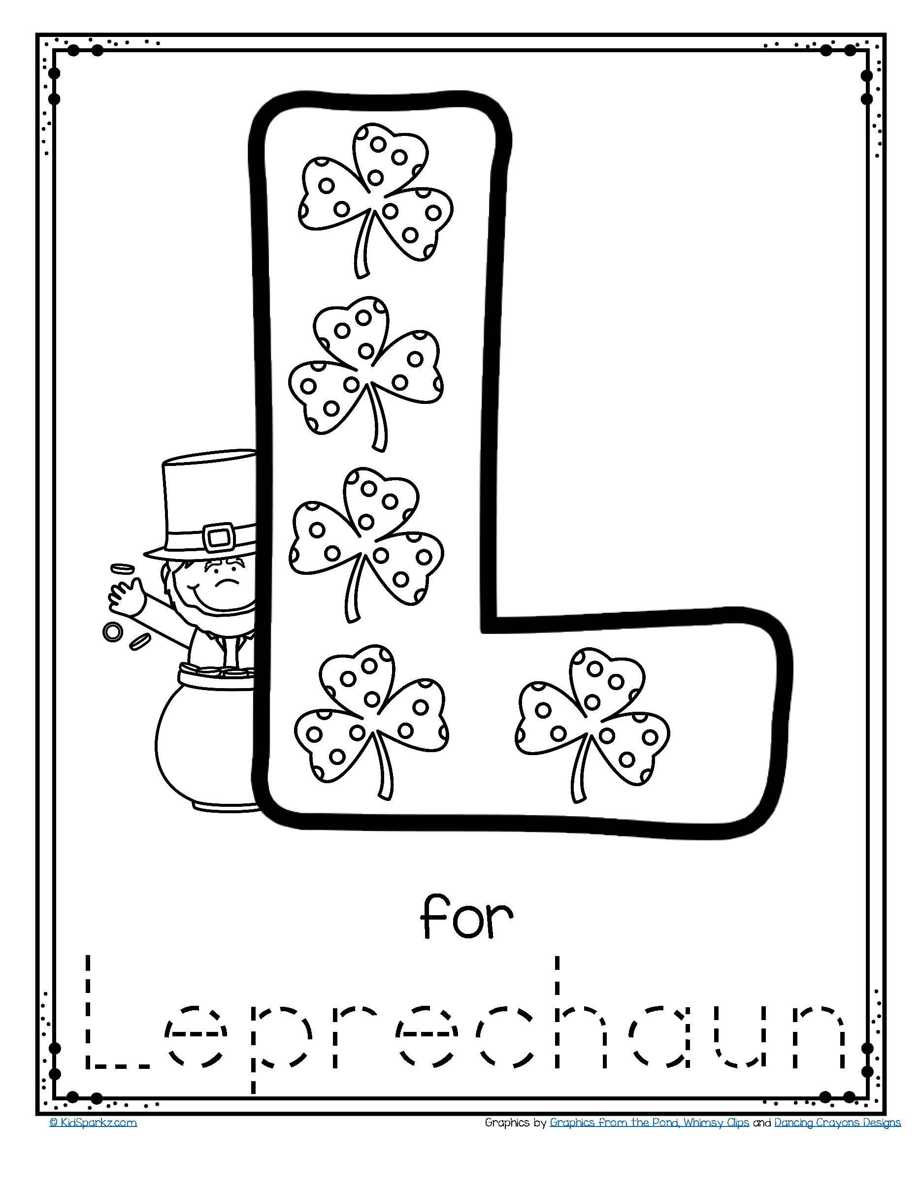 Letter L Worksheet Preschool Free L for Leprechaun Alphabet Trace and Color Printable to