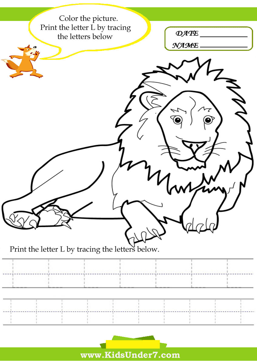 Letter L Worksheet Preschool Kids Under 7 Alphabet Worksheets Trace and Print Letter L