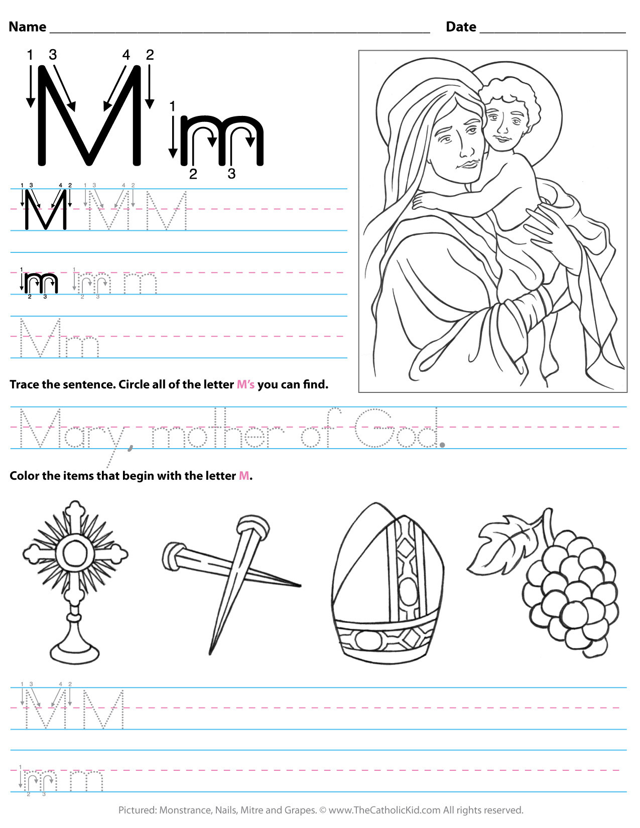 Letter M Worksheets for Preschoolers Catholic Alphabet Letter M Worksheet Preschool Kindergarten