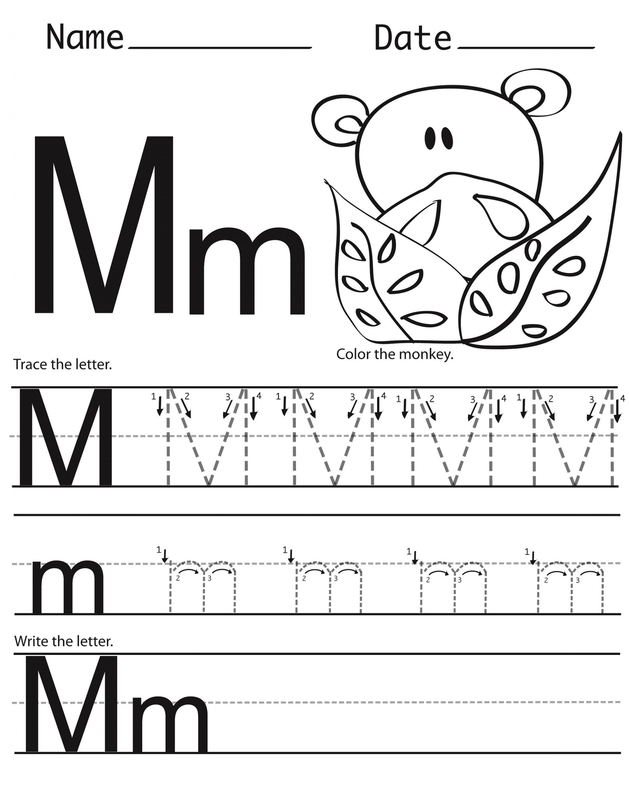 Letter M Worksheets for Preschoolers Letter M Worksheets