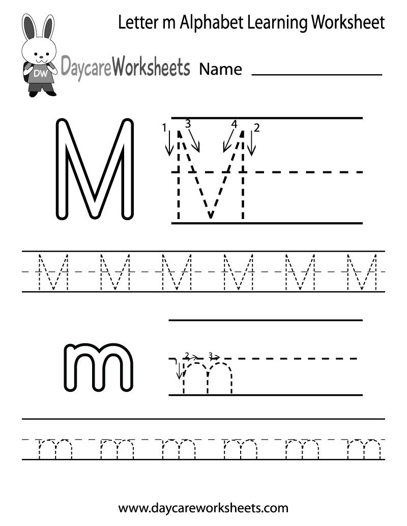 Letter M Worksheets Preschool Draft Free Letter M Alphabet Learning Worksheet for