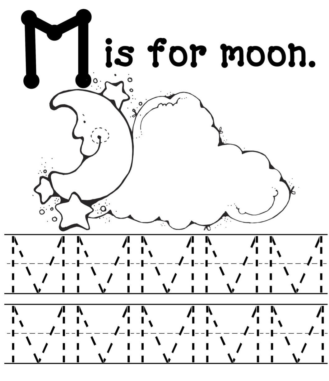 Letter M Worksheets Preschool Moon Mommy School Blog