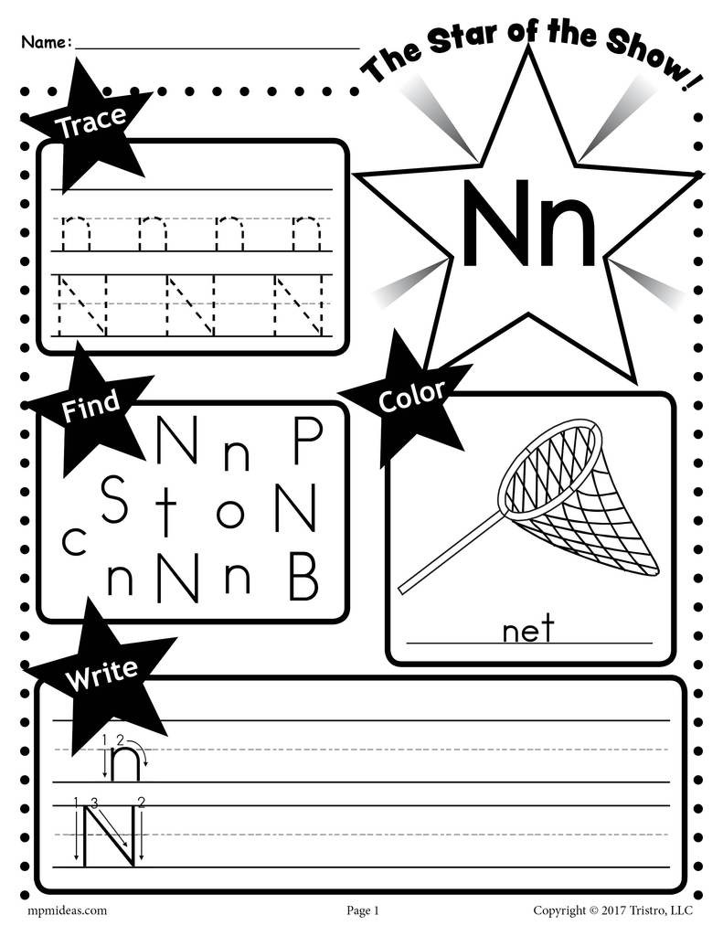 Letter N Preschool Worksheets Letter N Worksheet Tracing Coloring Writing & More