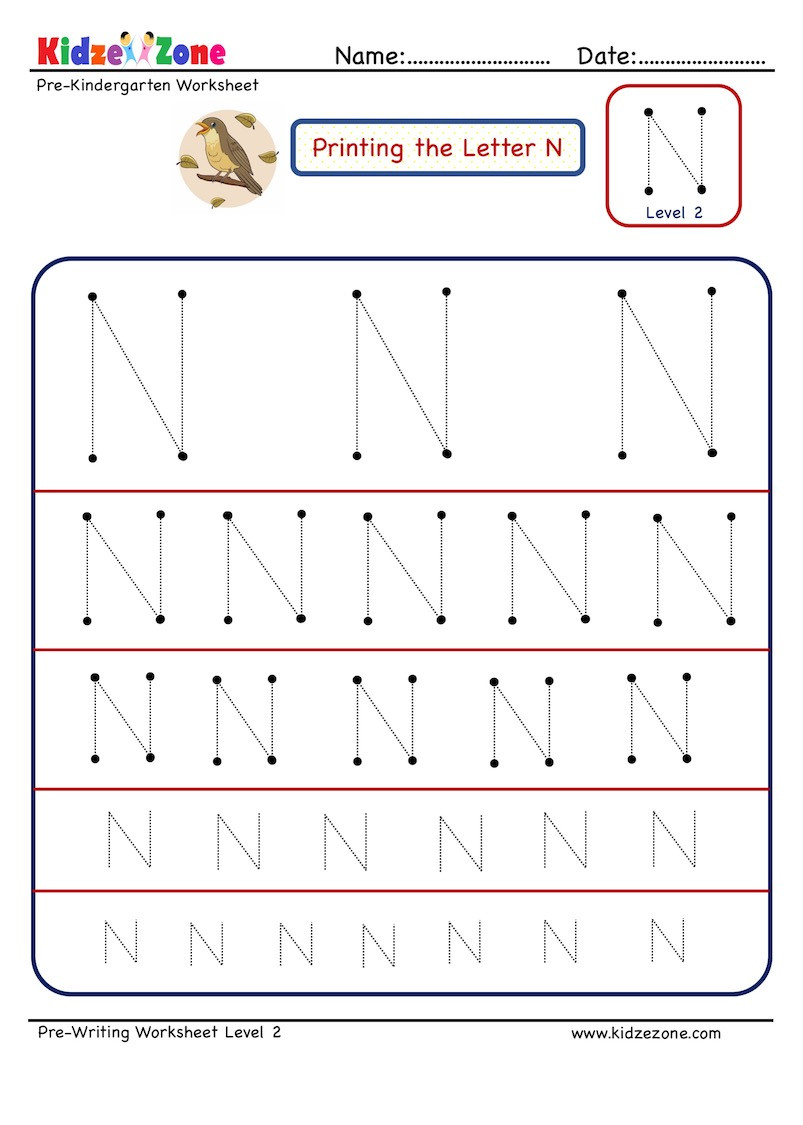 Letter N Preschool Worksheets Preschool Letter Tracing Worksheet Letter N Different