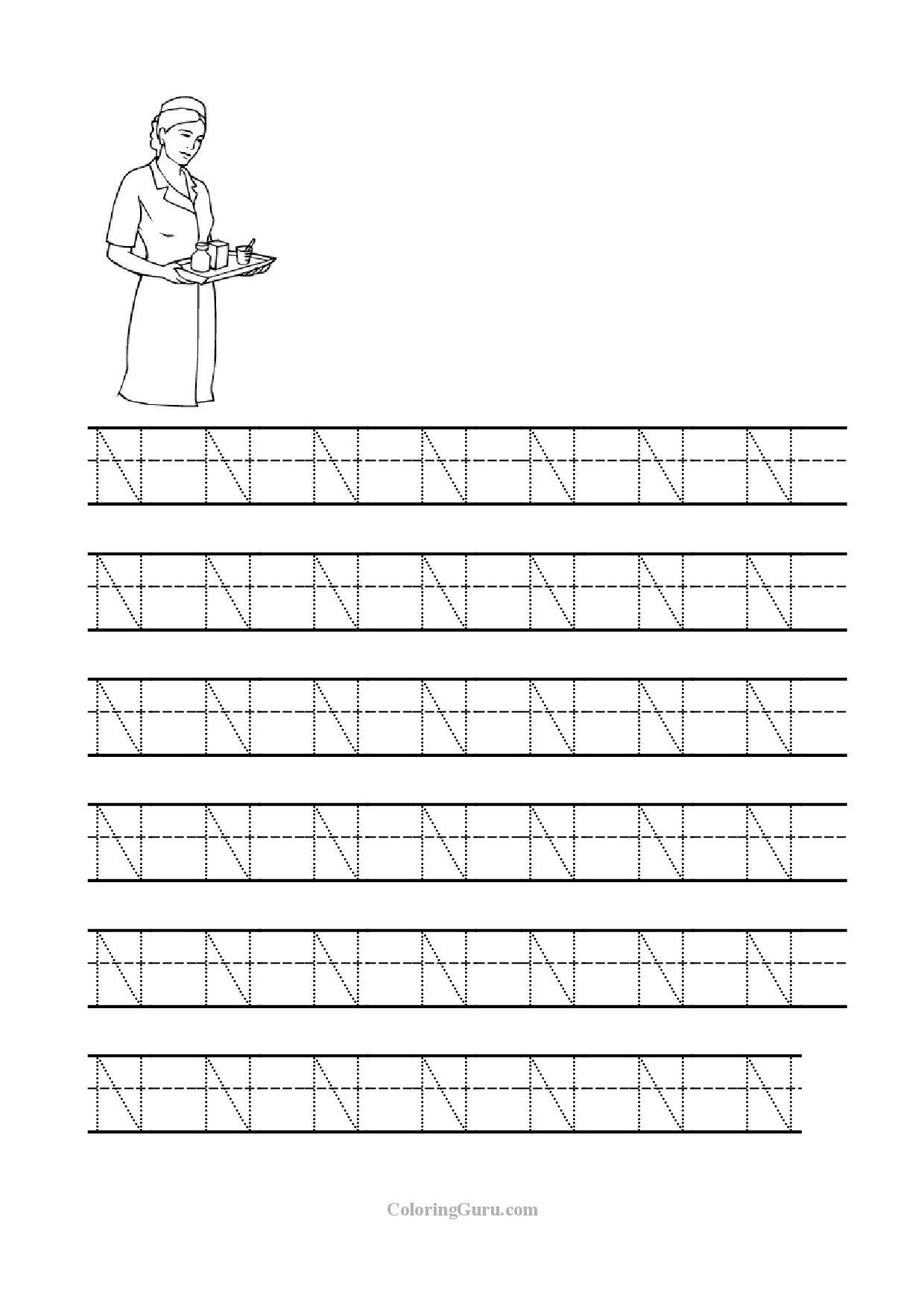 Letter N Tracing Worksheets Preschool Free Printable Tracing Letter N Worksheets for Preschool
