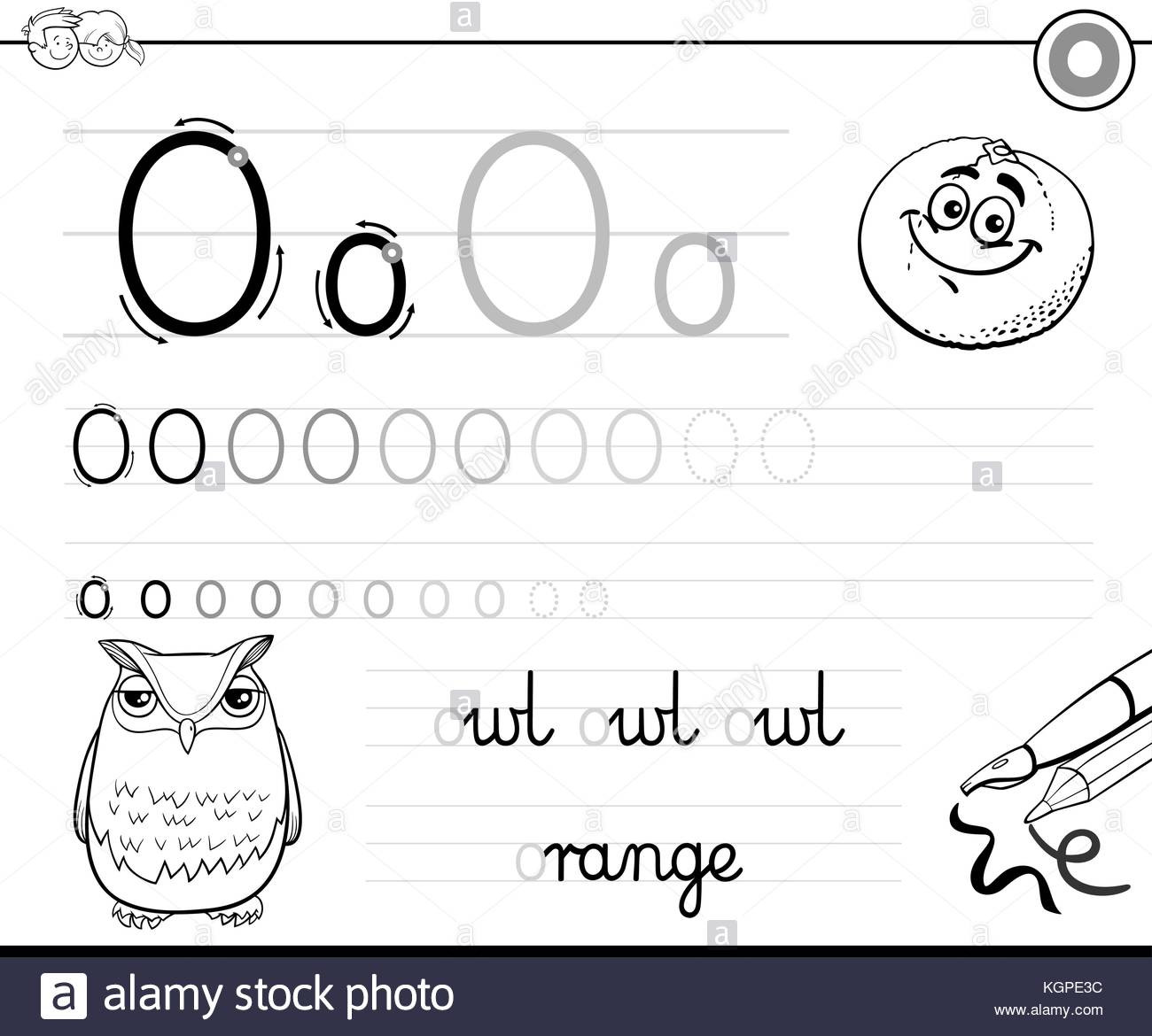 Letter O Worksheets for Preschool Black and White Cartoon Illustration Of Writing Skills