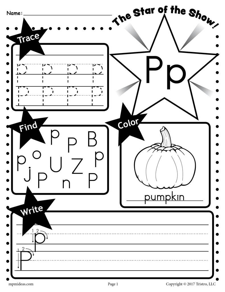 Letter P Preschool Worksheets Letter P Worksheet Tracing Coloring Writing & More