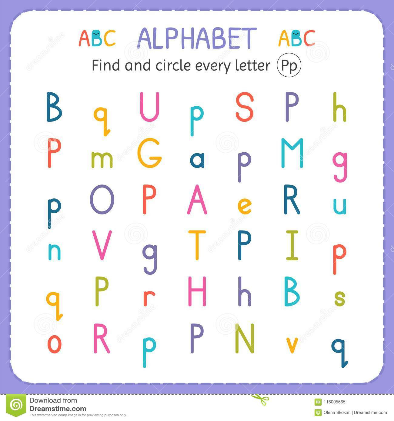 Letter P Worksheets Preschool Find and Circle Every Letter P Worksheet for Kindergarten