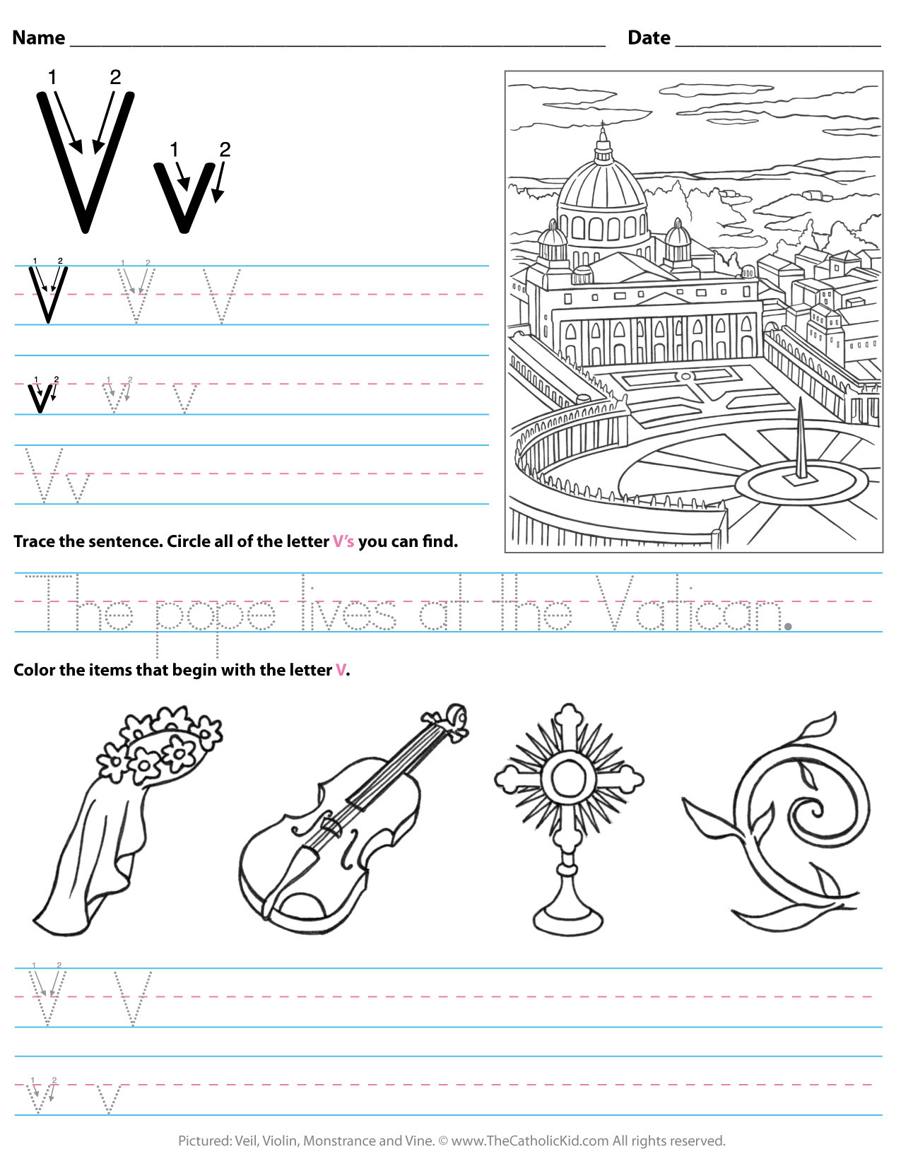 Letter V Worksheets Preschool Catholic Alphabet Letter V Worksheet Preschool Kindergarten
