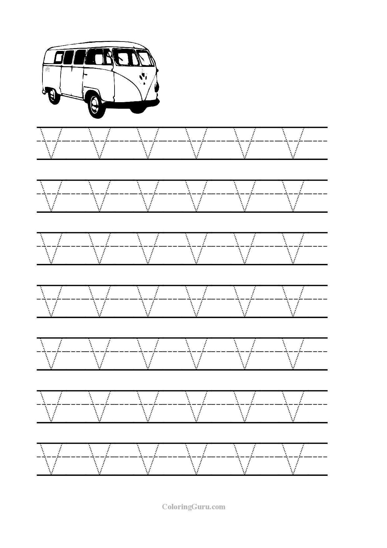 Letter V Worksheets Preschool Free Printable Tracing Letter V Worksheets for Preschool