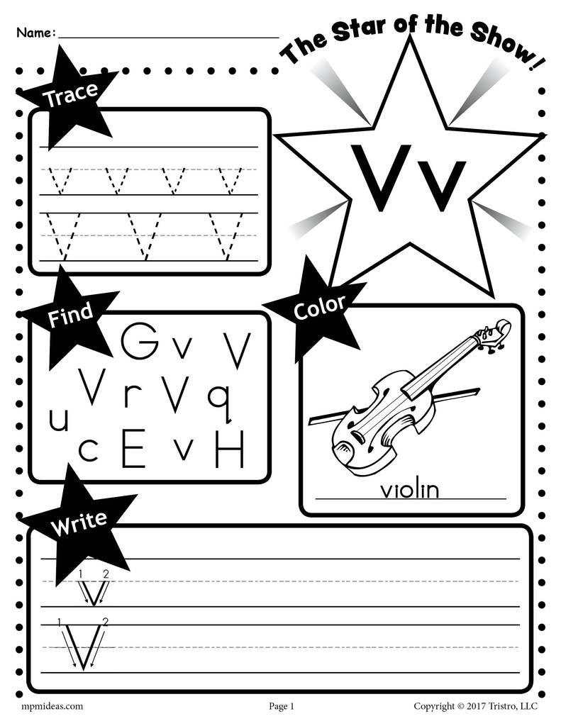 Letter V Worksheets Preschool Letter V Worksheet Tracing Coloring Writing & More